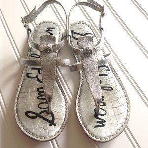 EUC Sam Edelman Thong Glitter Logo Girls Sandals